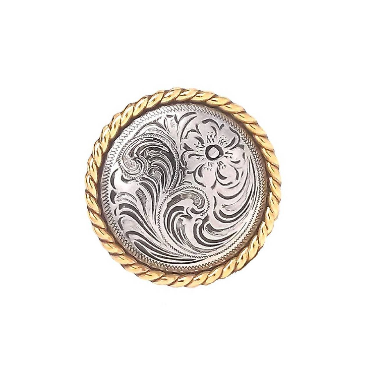 """Concho 1-1/4"""" Antique Silver with Gold Rope Screwback 1786NG by Stecksstore"""