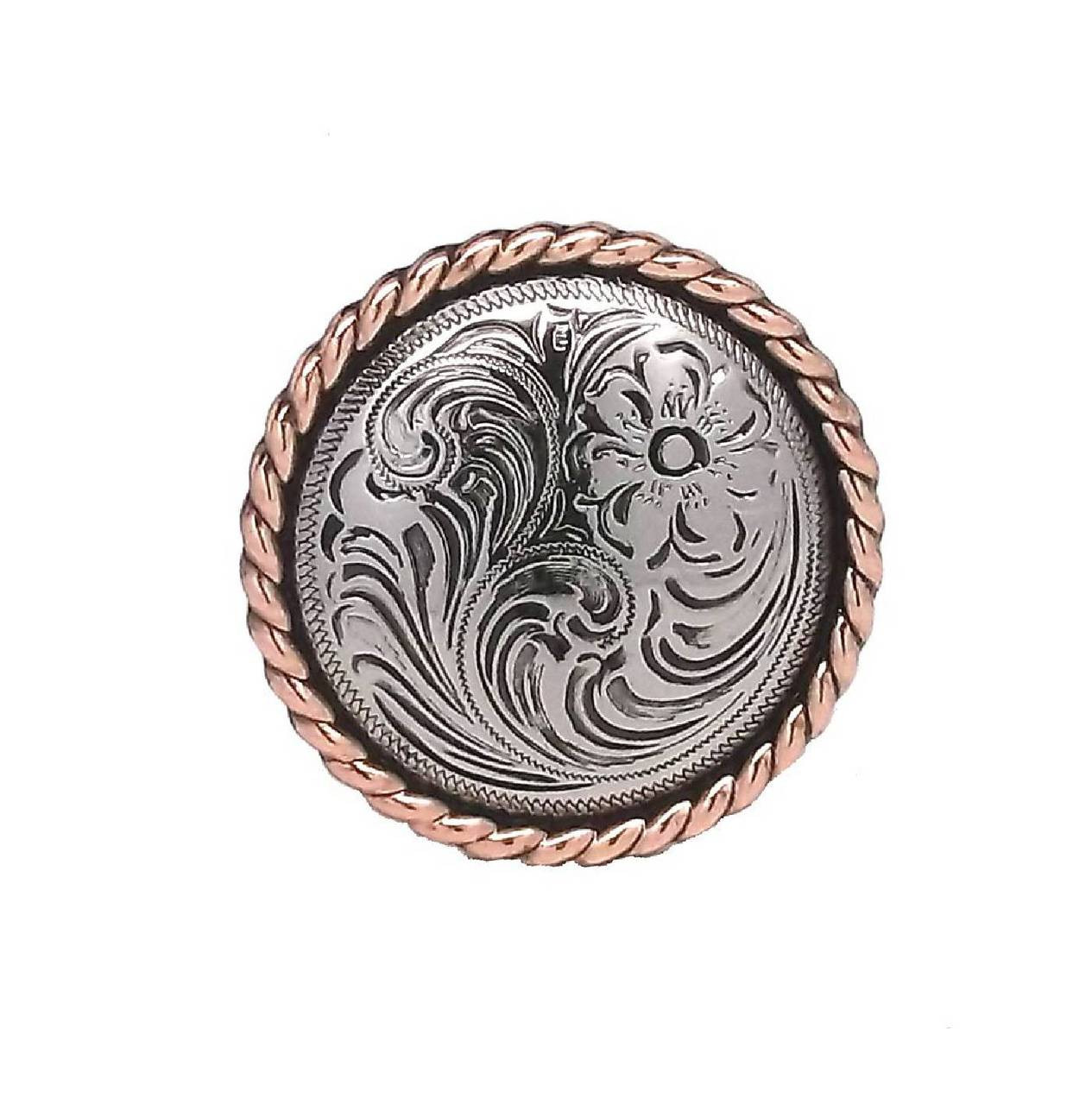 Rose Flower Antique Silver With Copper Concho 15 High Sierra