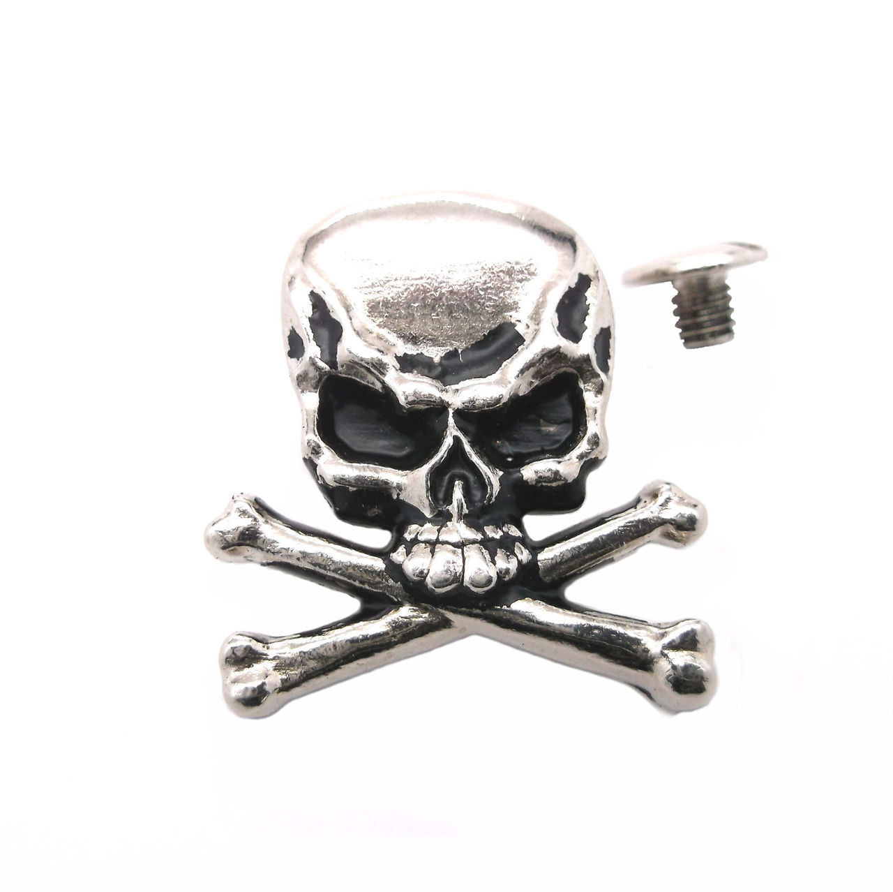 """Skull and Crossbones Nickel Plated 1.25"""" Concho with screw"""