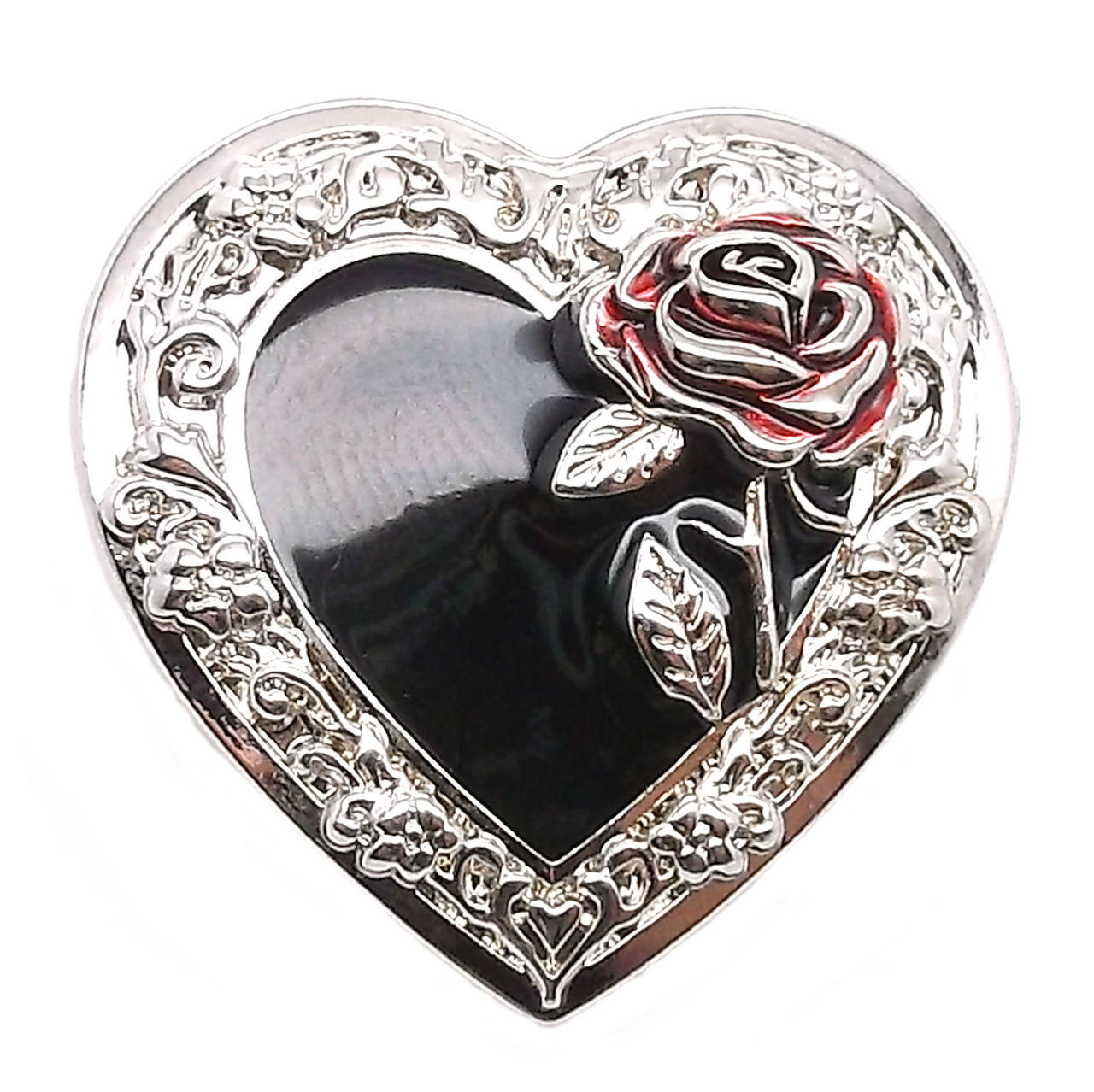 """Heart Concho with Red Rose Screw Back 1-1/4"""" 2318-00"""