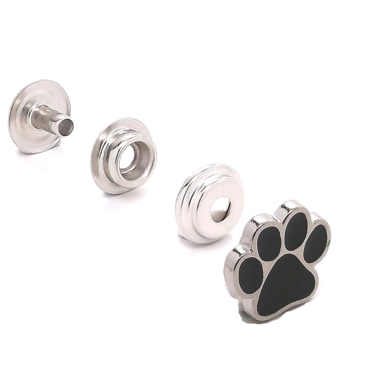 Paw Print Line 24 Snap Cap Silver with Black Set