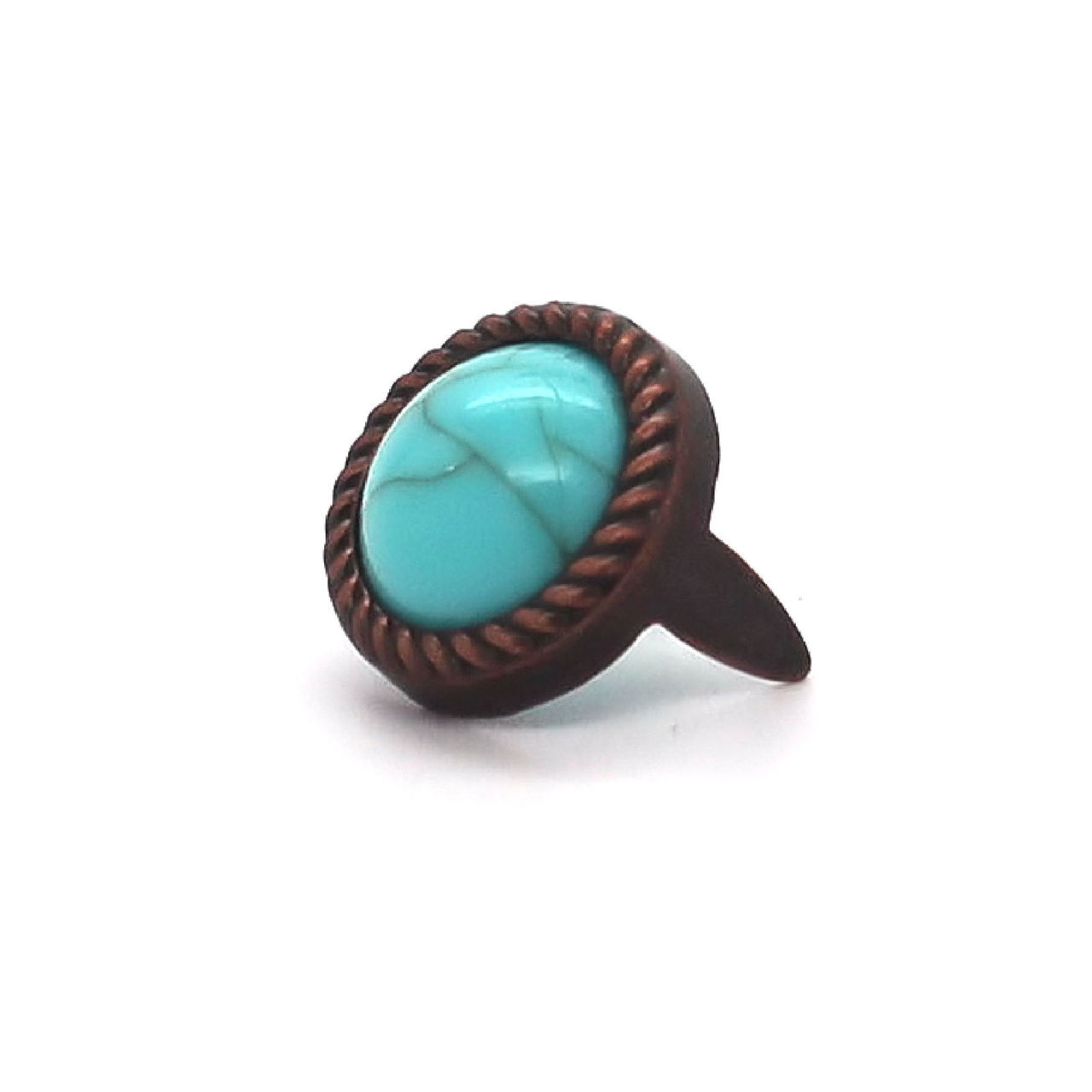 Turquoise and Copper Plated Rope Edge Spots
