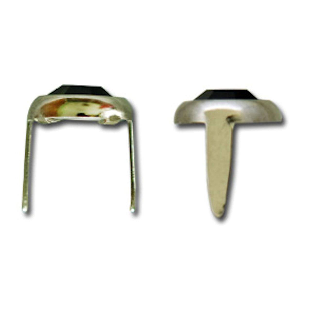 """Clear Rhinestone Nailhead Nickel Plated Brass Spots 10 pk 5/16"""" Diam"""