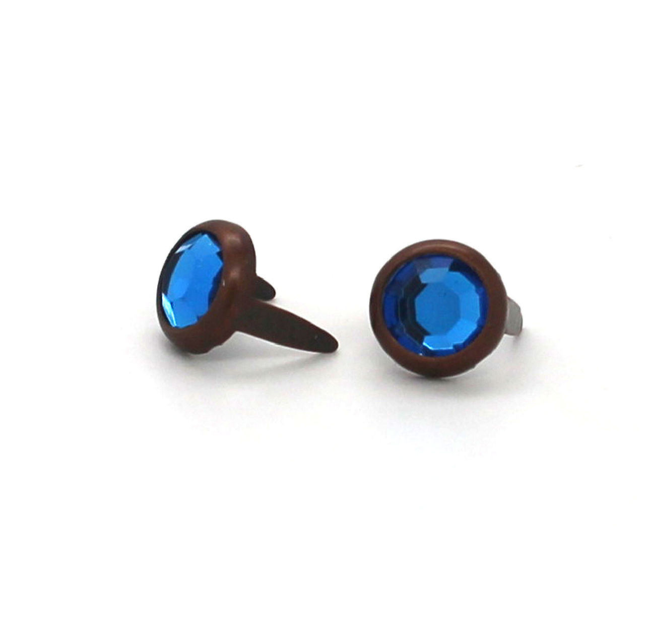 "Blue Rhinestone Copper Plated Brass Spots 10 pk 5/16"" Diameter"