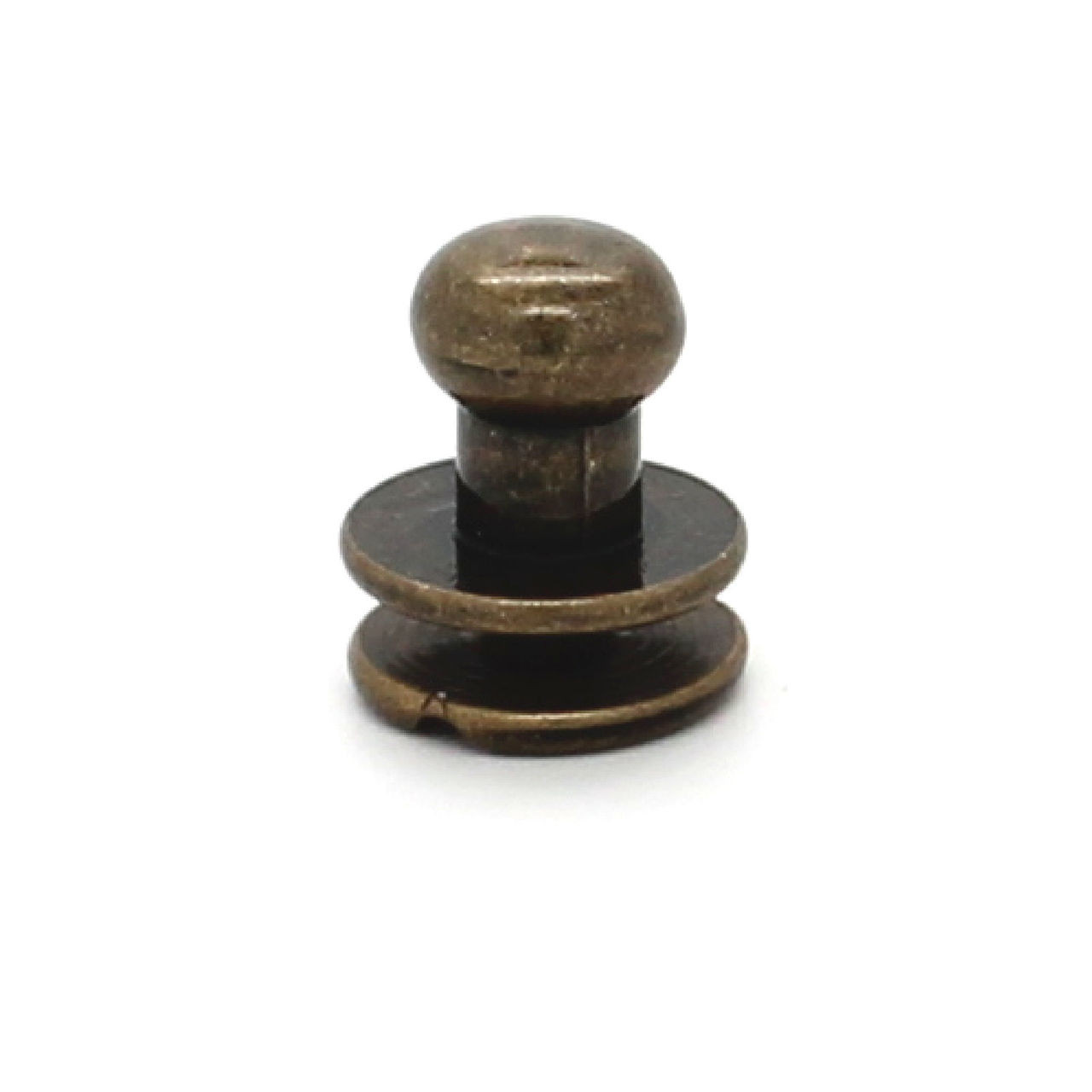 Button Stud Antique Brass 8 mm Screw Back