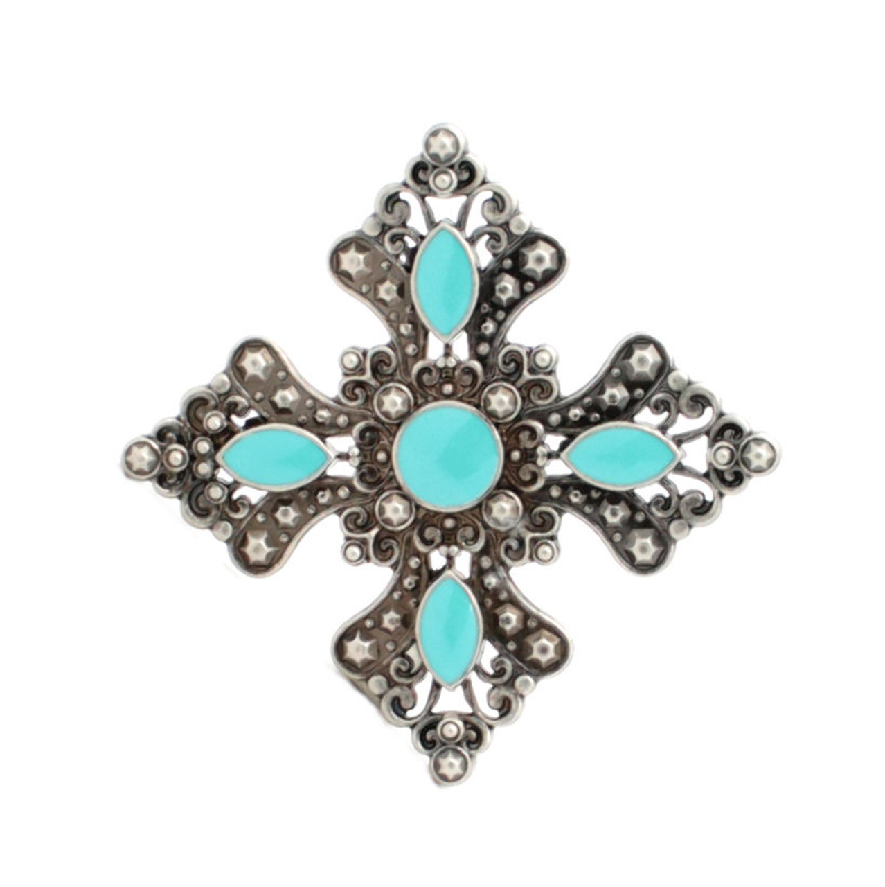"""Turquoise and Antique Silver Flower Concho 1-1/4"""" 7213-03"""