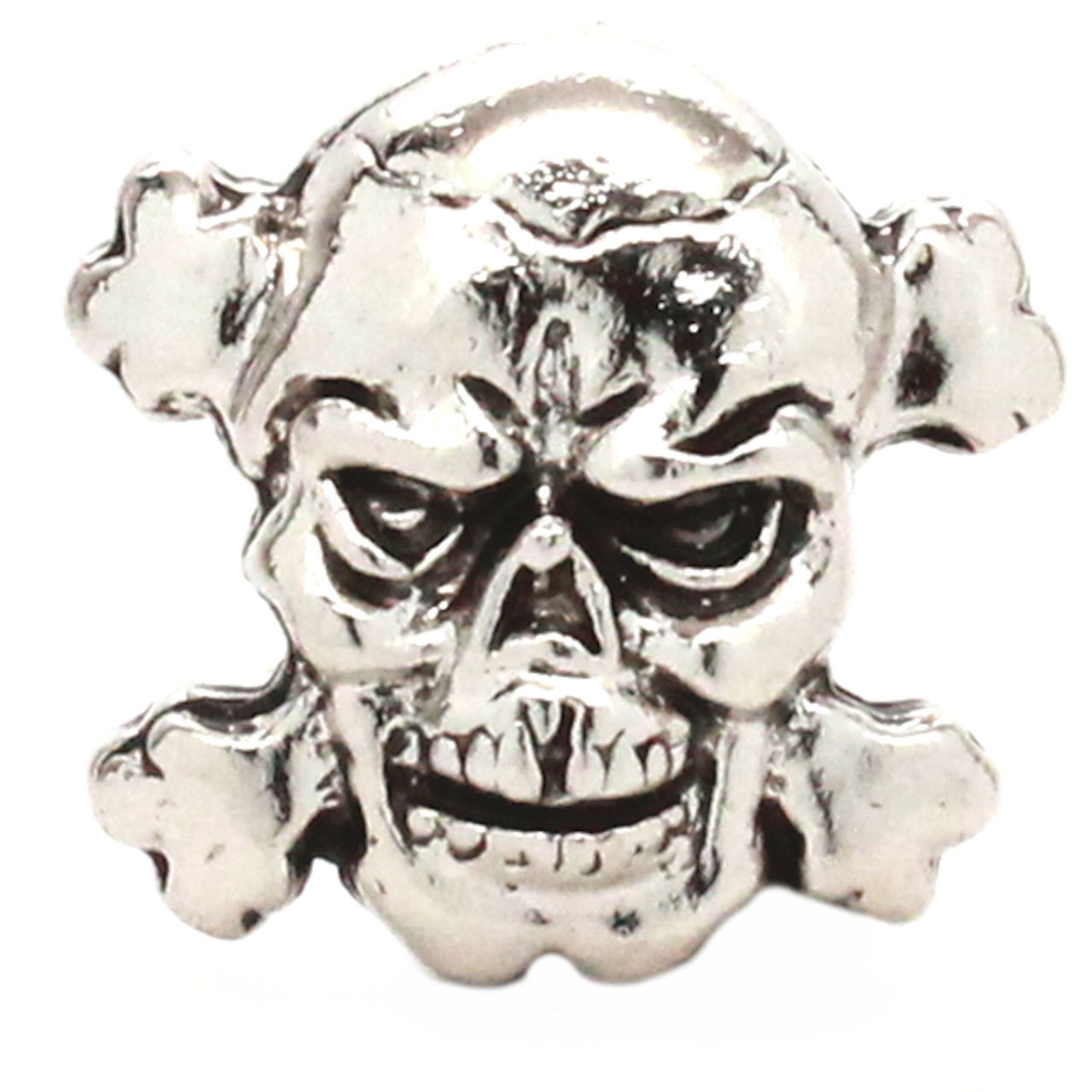 Skull And Crossbones Concho Nickel with Black 1-1/8""