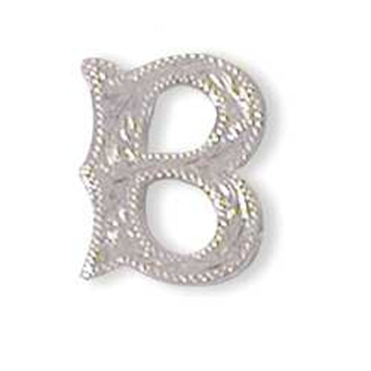 "Alphabet Letter B Shiny Silver Screw Back Concho 3/4"" Tall 1339-02"