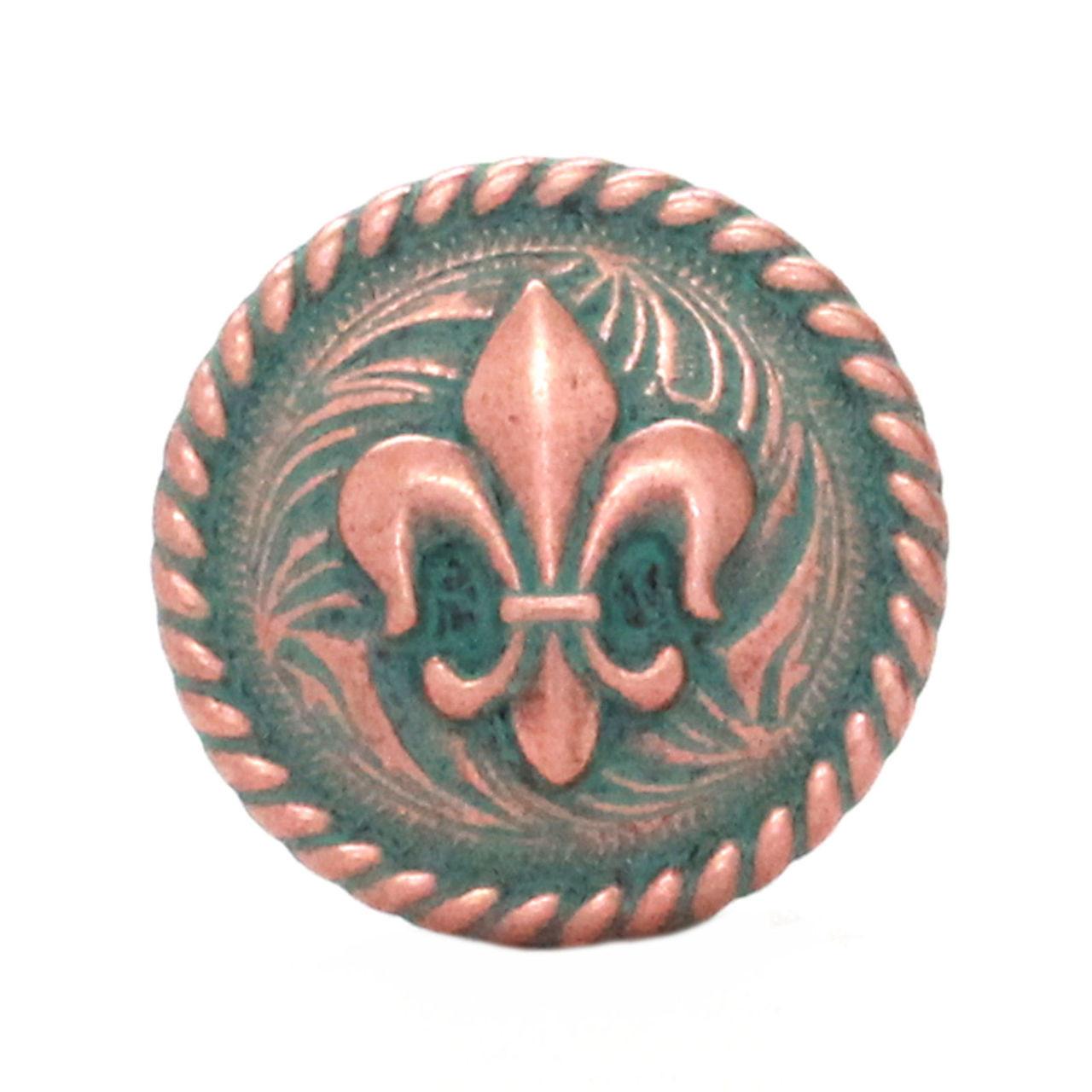 Fleur de Lis Rope Edge Copper Patina Concho Front