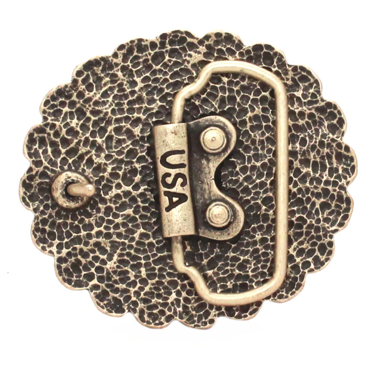 Pinwheel Trophy Belt Buckle Antique Brass Back