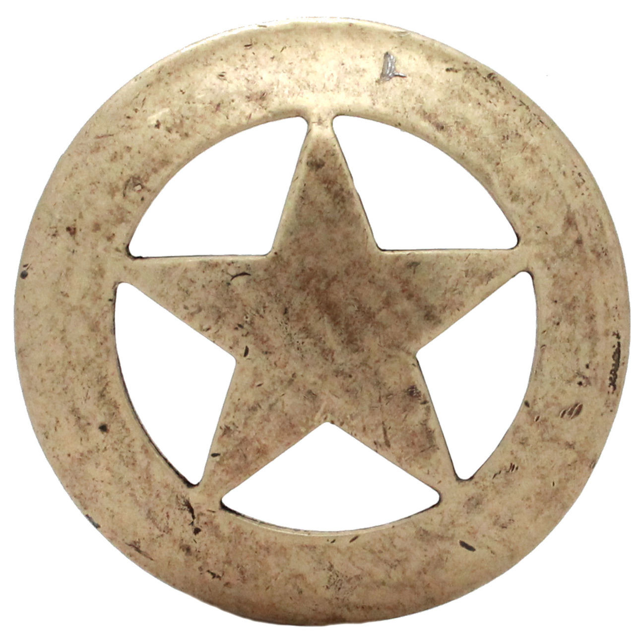 """Smooth Star Saddle Tack Concho 3"""" Antique Brass Front"""