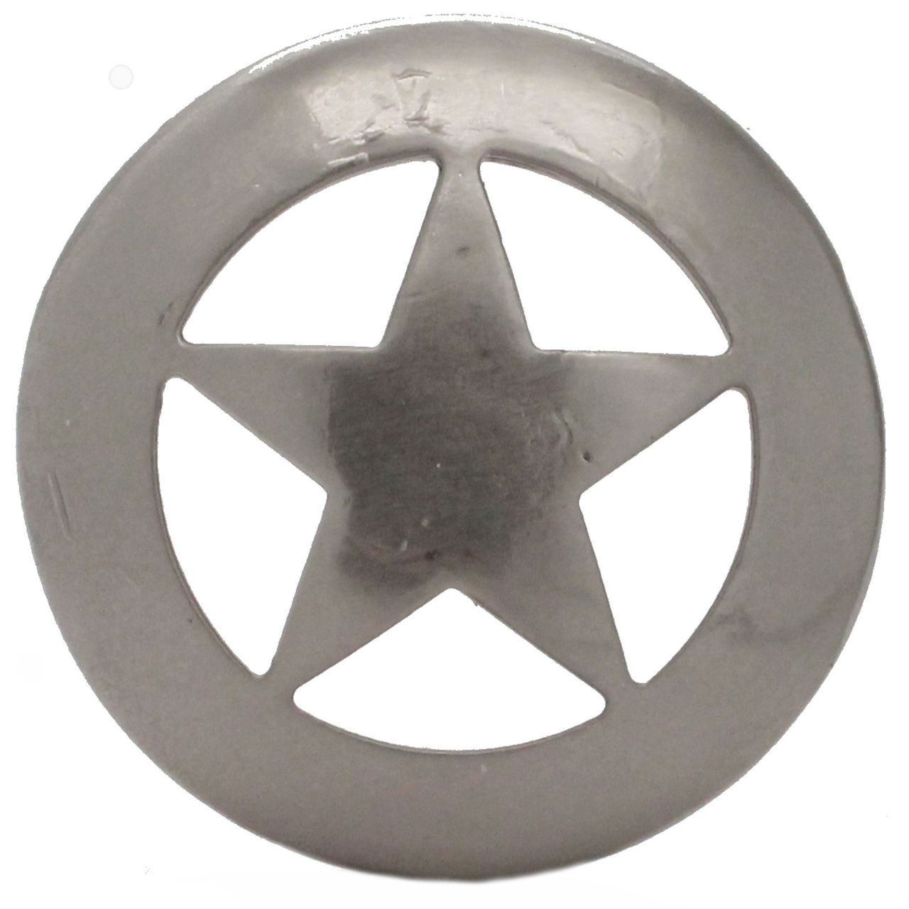 """Smooth Star Saddle Tack Concho 3"""" Nickel Front"""