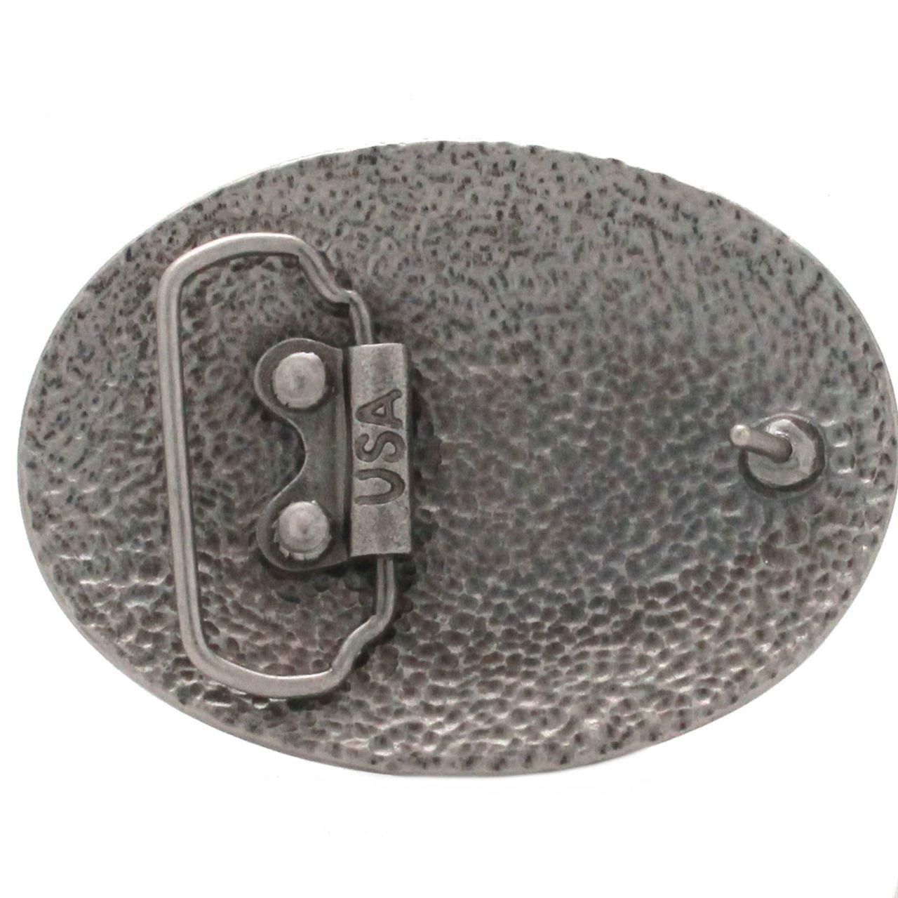Floral Filigree Trophy Belt Buckle Antique Nickel Back