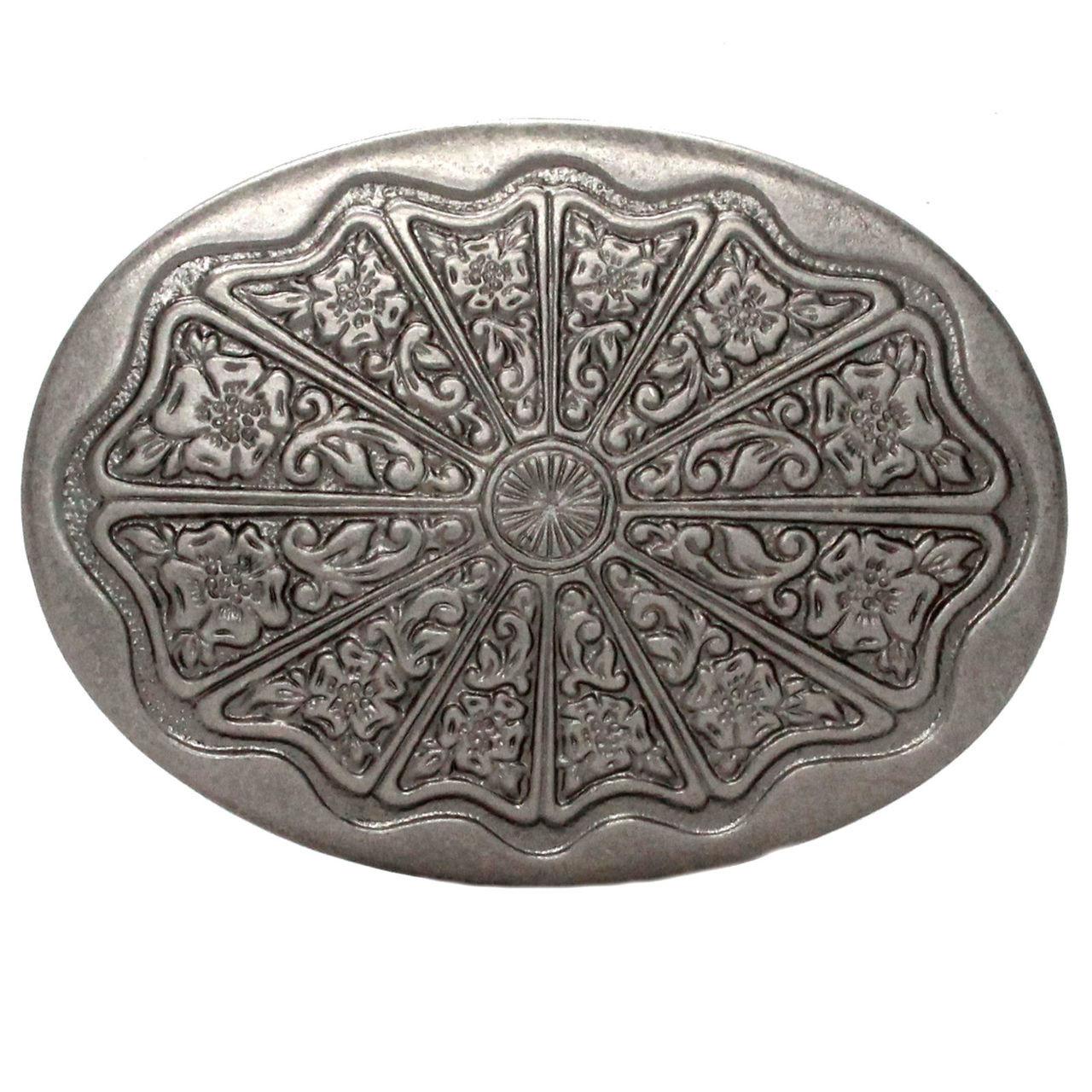 Floral Filigree Trophy Belt Buckle Antique Nickel Front