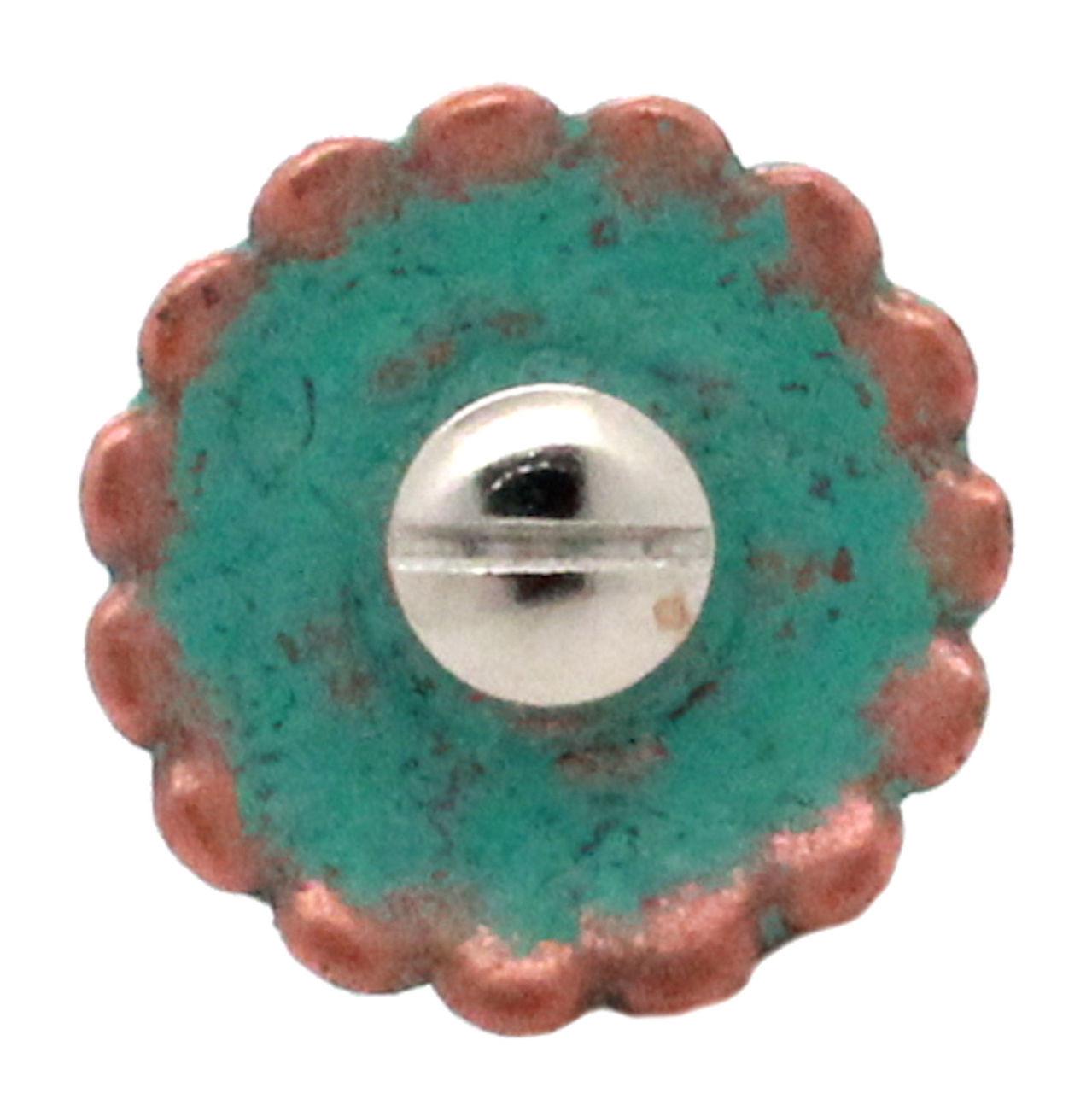 Santa Fe Cactus Cross Concho Copper Patina Back