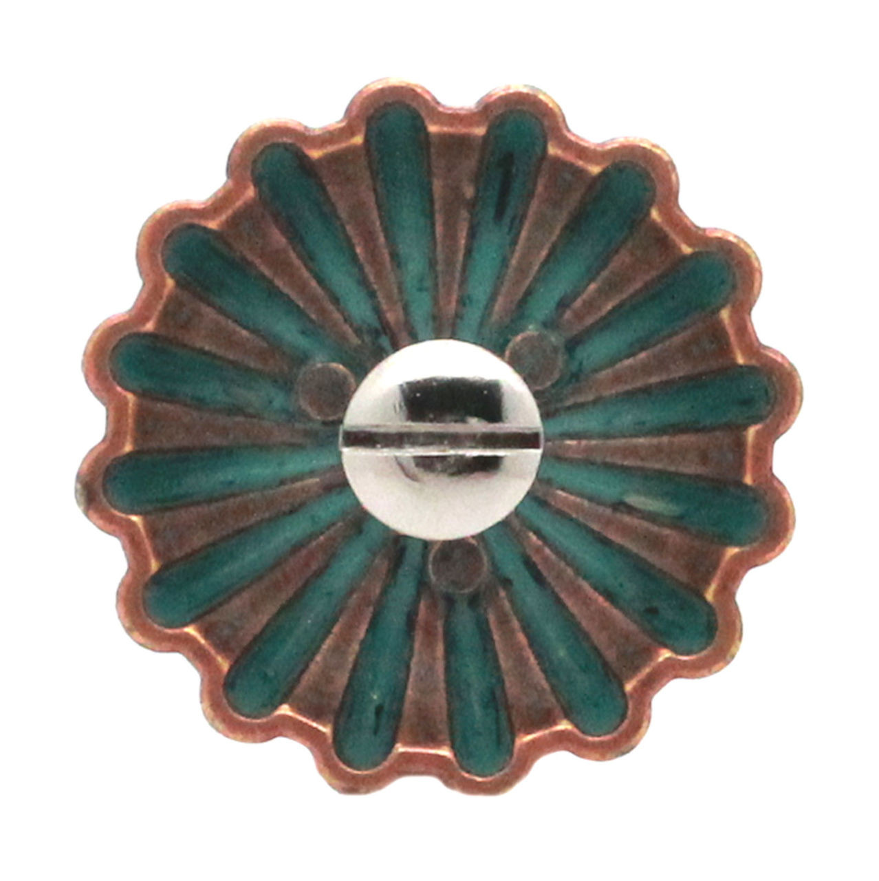"Pinwheel Concho Copper Patina 1.25"" Back"