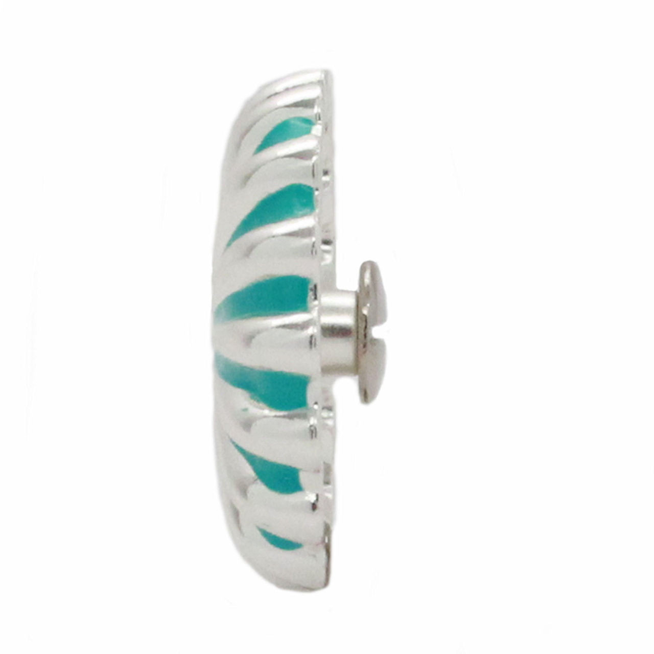 "Pinwheel Concho Silver And Turquoise 1.25"" Side"