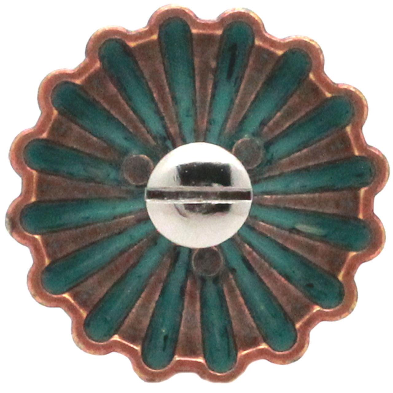 "Pinwheel Concho Copper Patina 1.5"" Back"