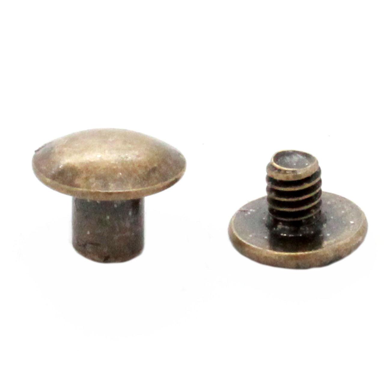 """Antique Brass Binder Post 1/4"""" Steel Chicago Screws 10 Pack"""