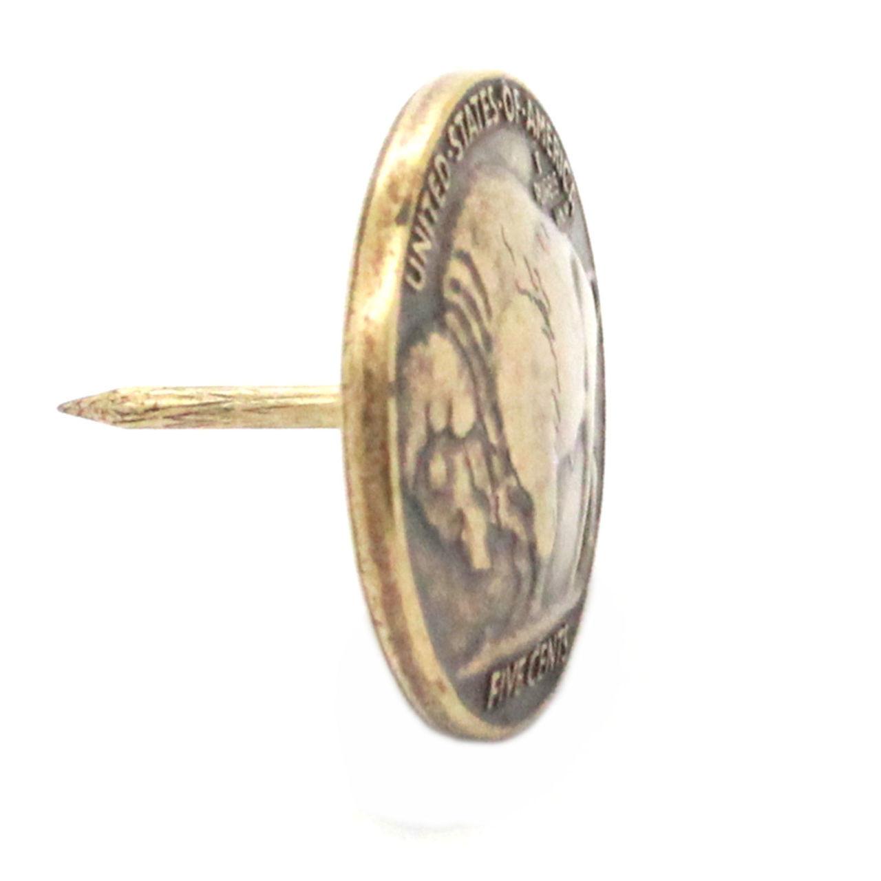 Buffalo nickel antique brass side