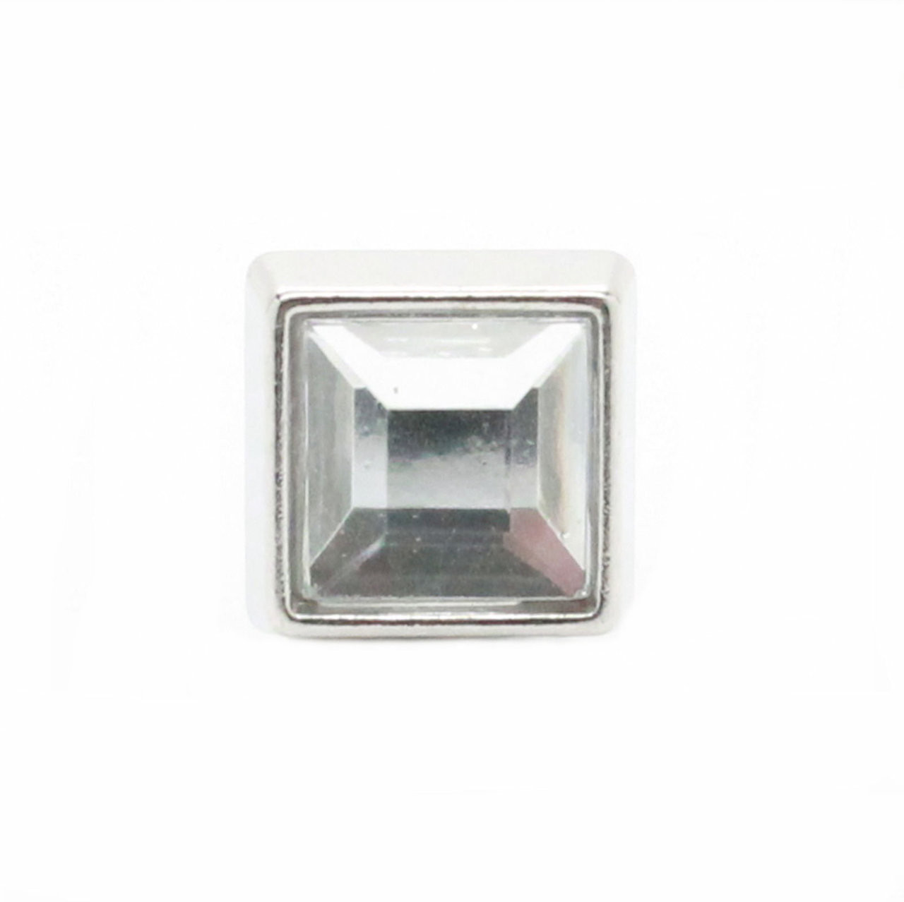 """Clear Crystal Square 1/2"""" Tack Upholstery Nail face on"""