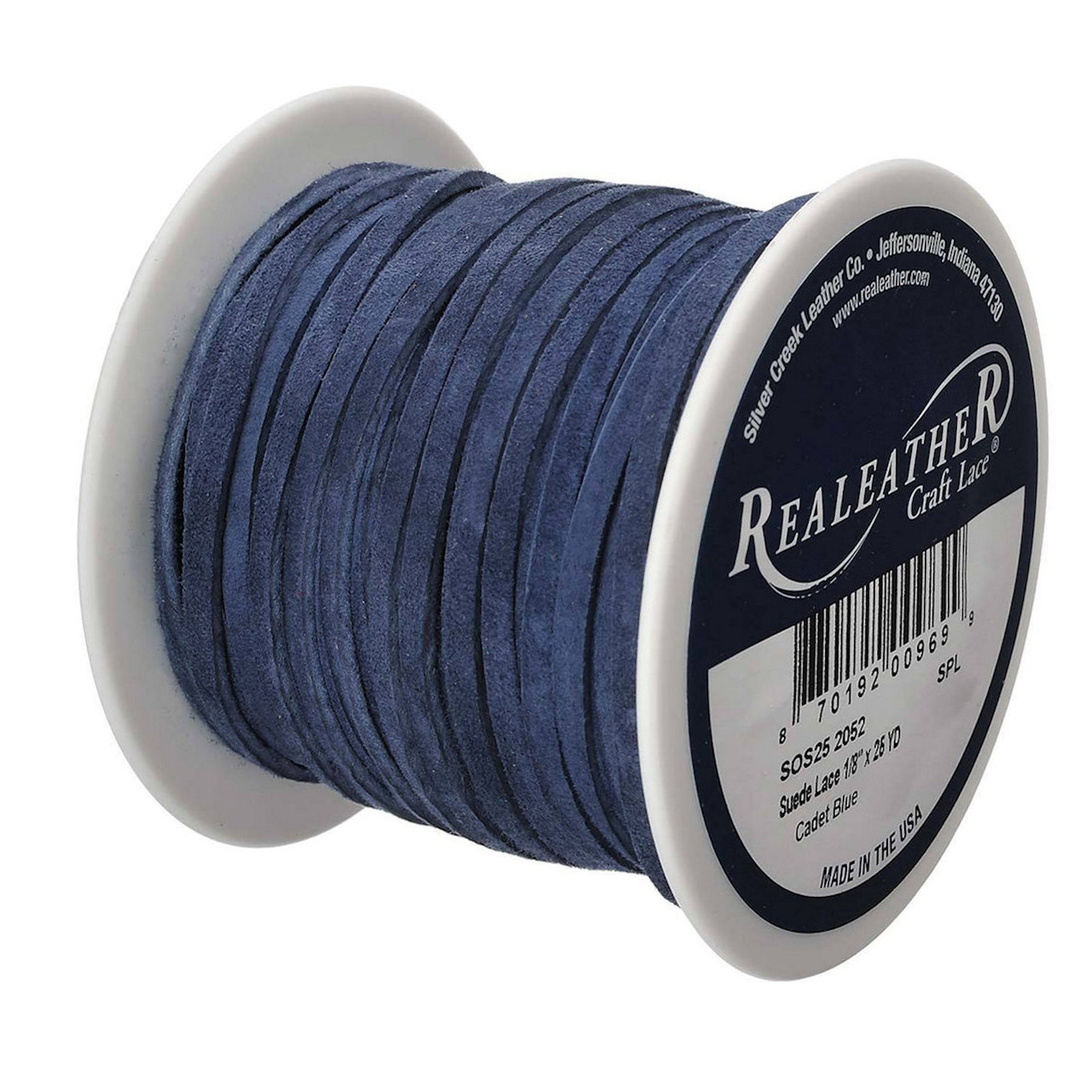 1 Spool Genuine Suede Leather Lace 1//8IN x 25YDS 1//8 Denim Blue
