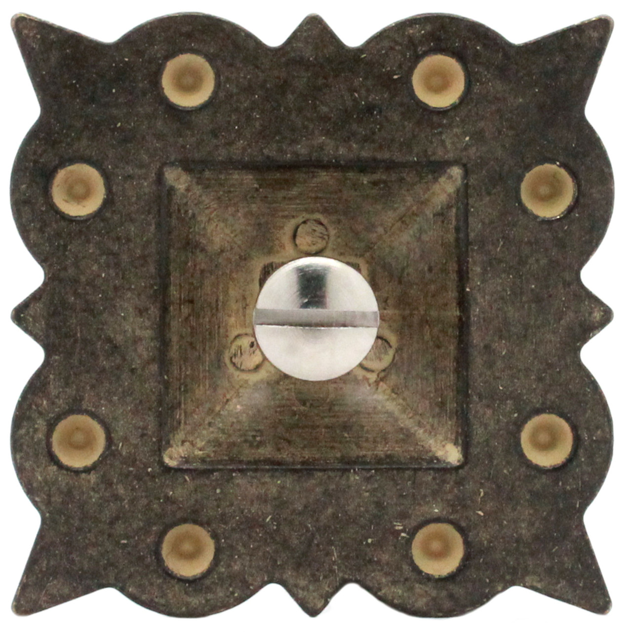 """Berry Square Concho 2"""" Screw Back Rustic Gold Back"""