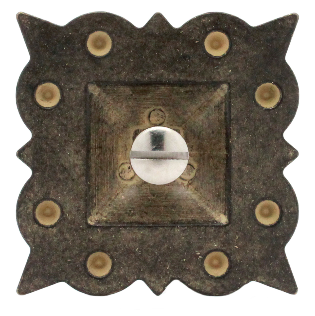 """Berry Square Concho 1.5"""" Screw Back Rustic Gold Back"""