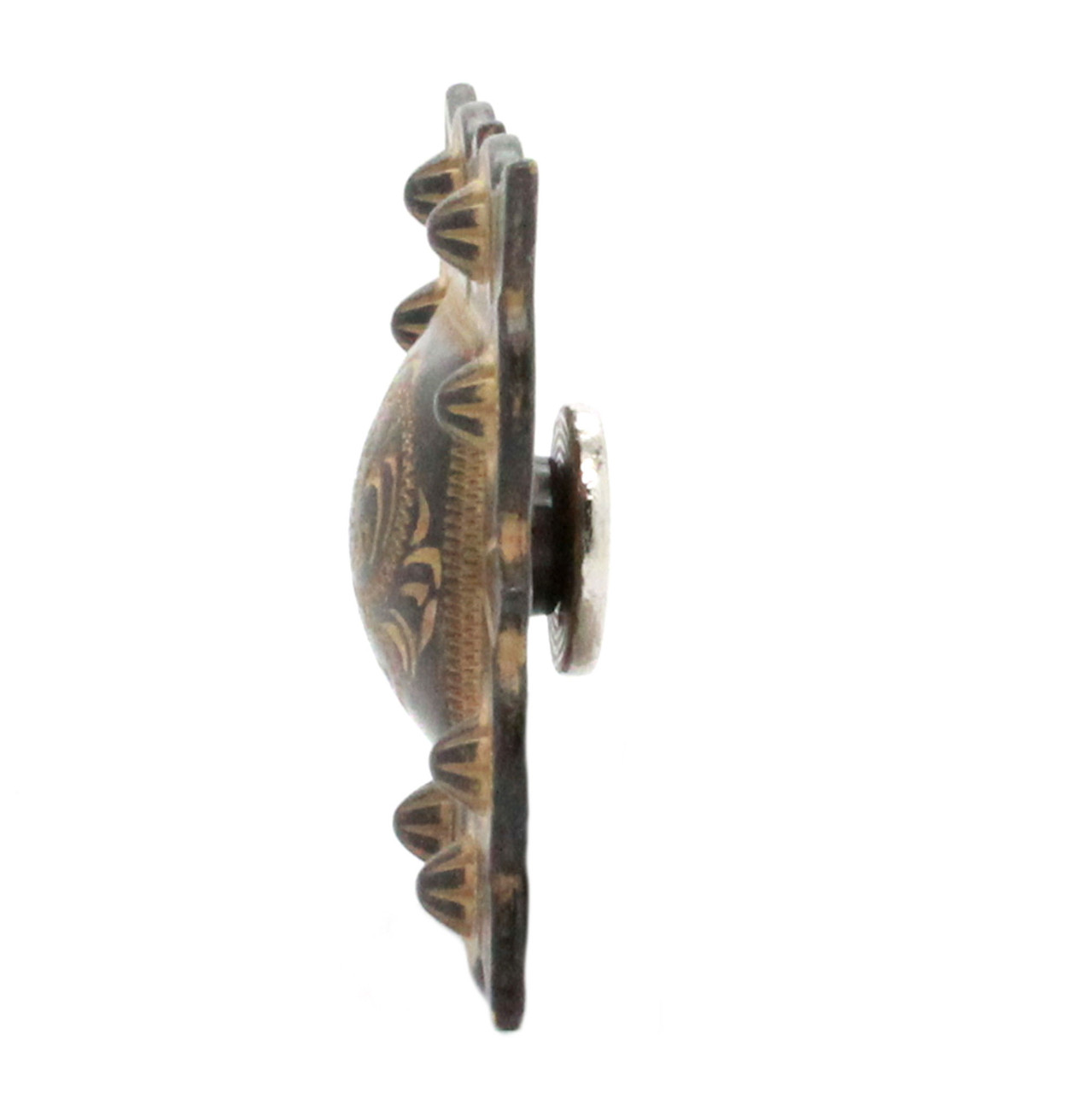 """Berry Square Concho 1.25"""" Screw Back Rustic Gold Side"""