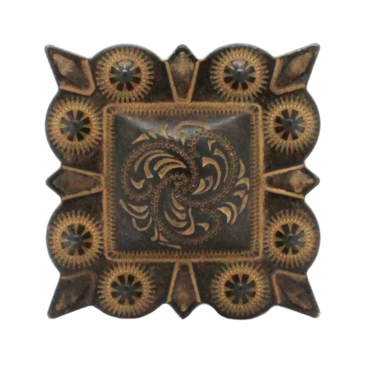 """Berry Square Concho 1.25"""" Screw Back Rustic Gold Front"""