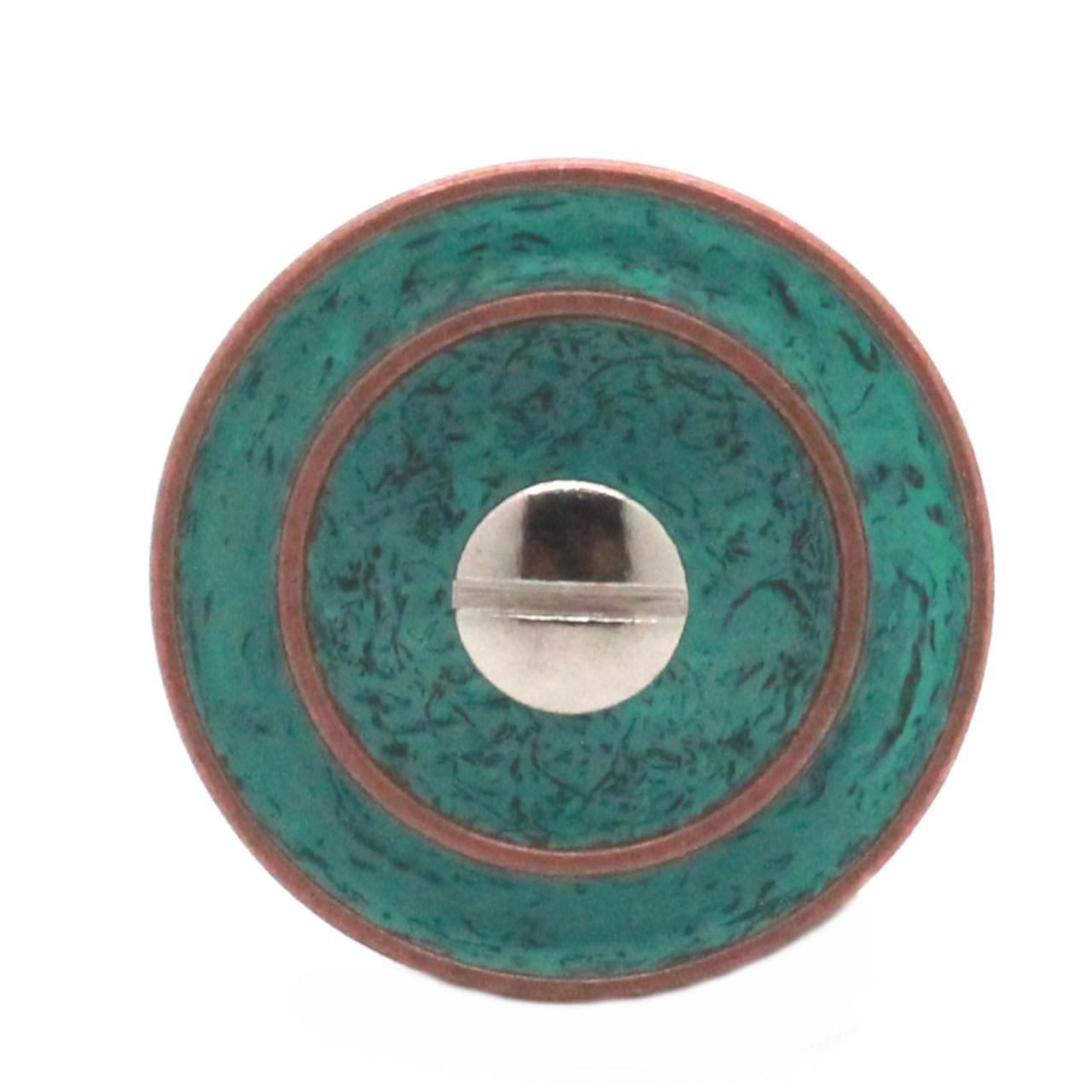 "Button Concho Rope Edge Copper Patina Screw Back 1-1/4"" Back"