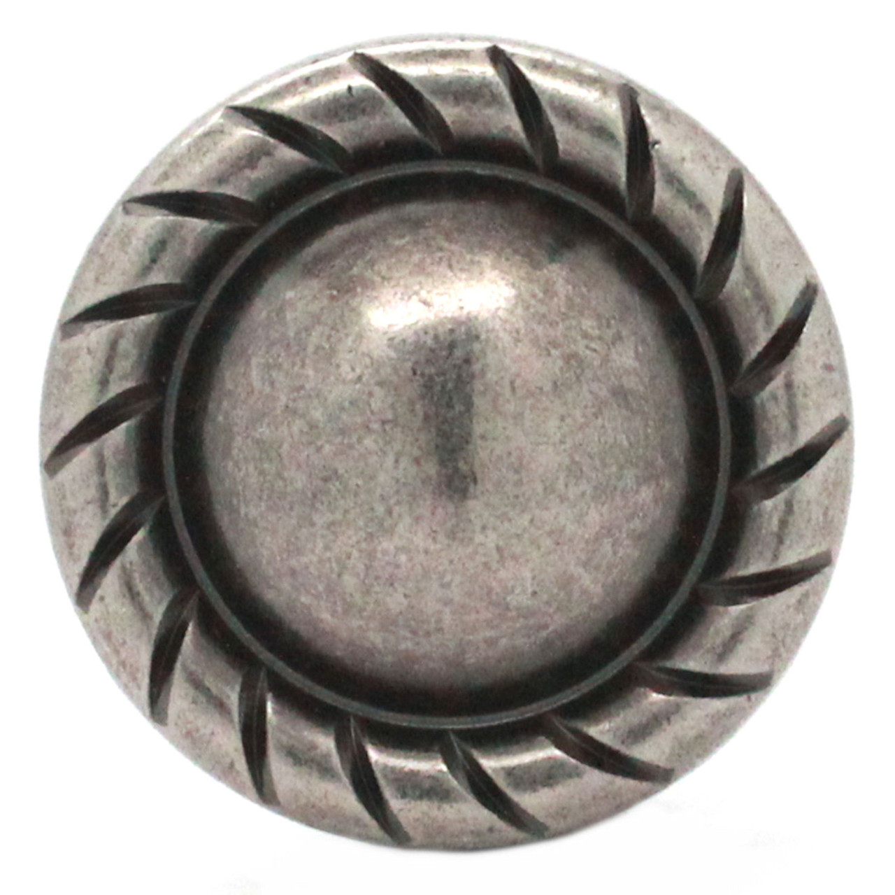 Button Concho Rope Edge Antique Nickel 1.5 Inch Front