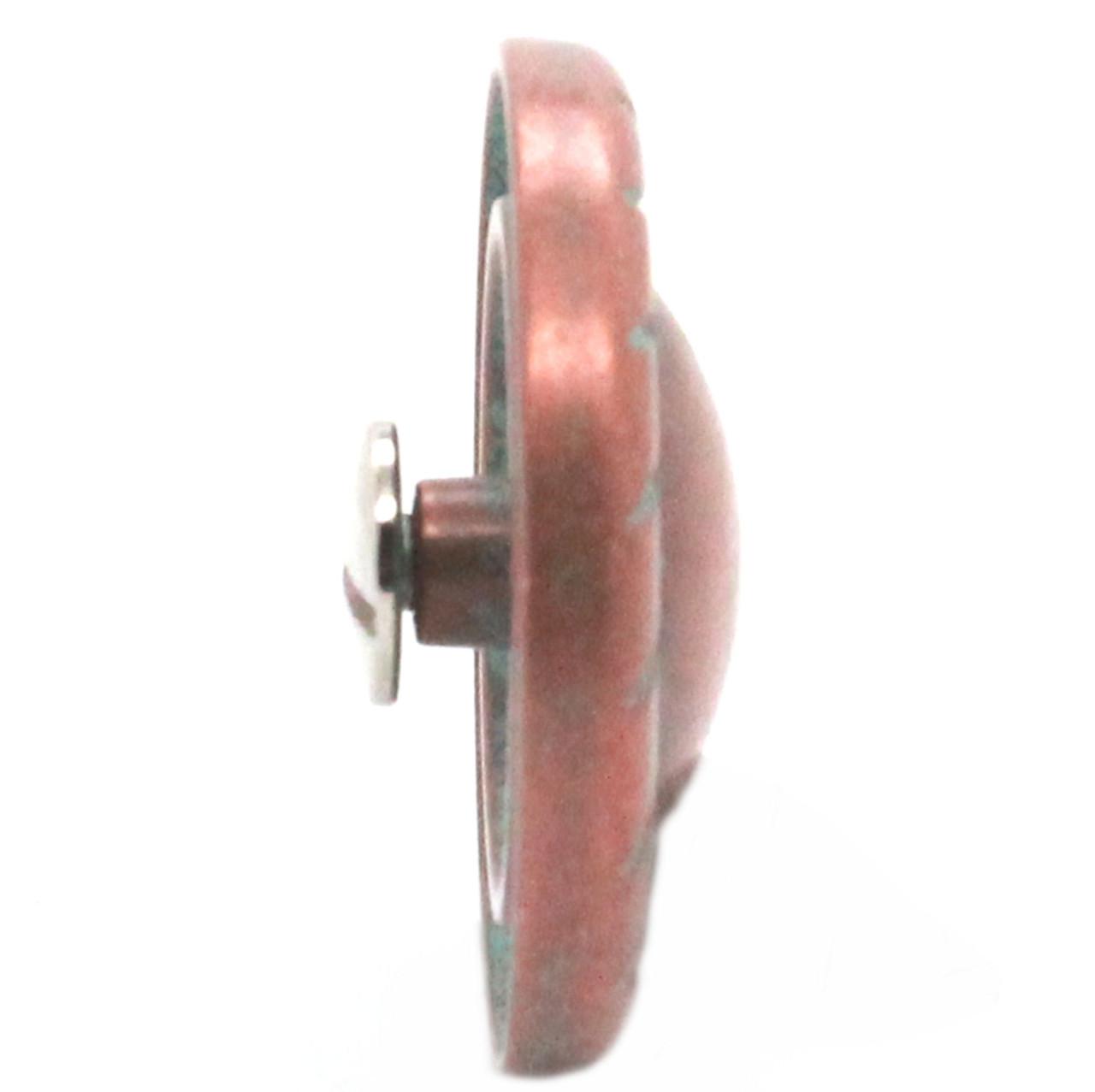 Button Concho Rope Edge Copper Patina 1.5 inch Side