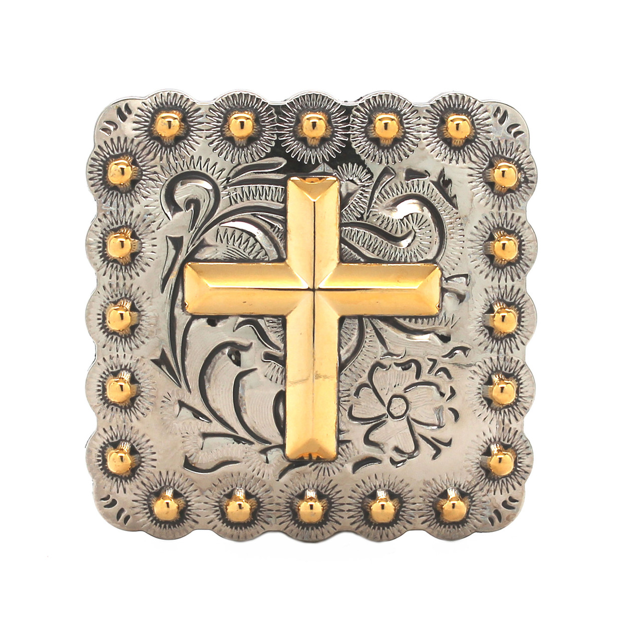 """Cross Berry Concho Antique Silver And Rose Gold 1"""" Front"""