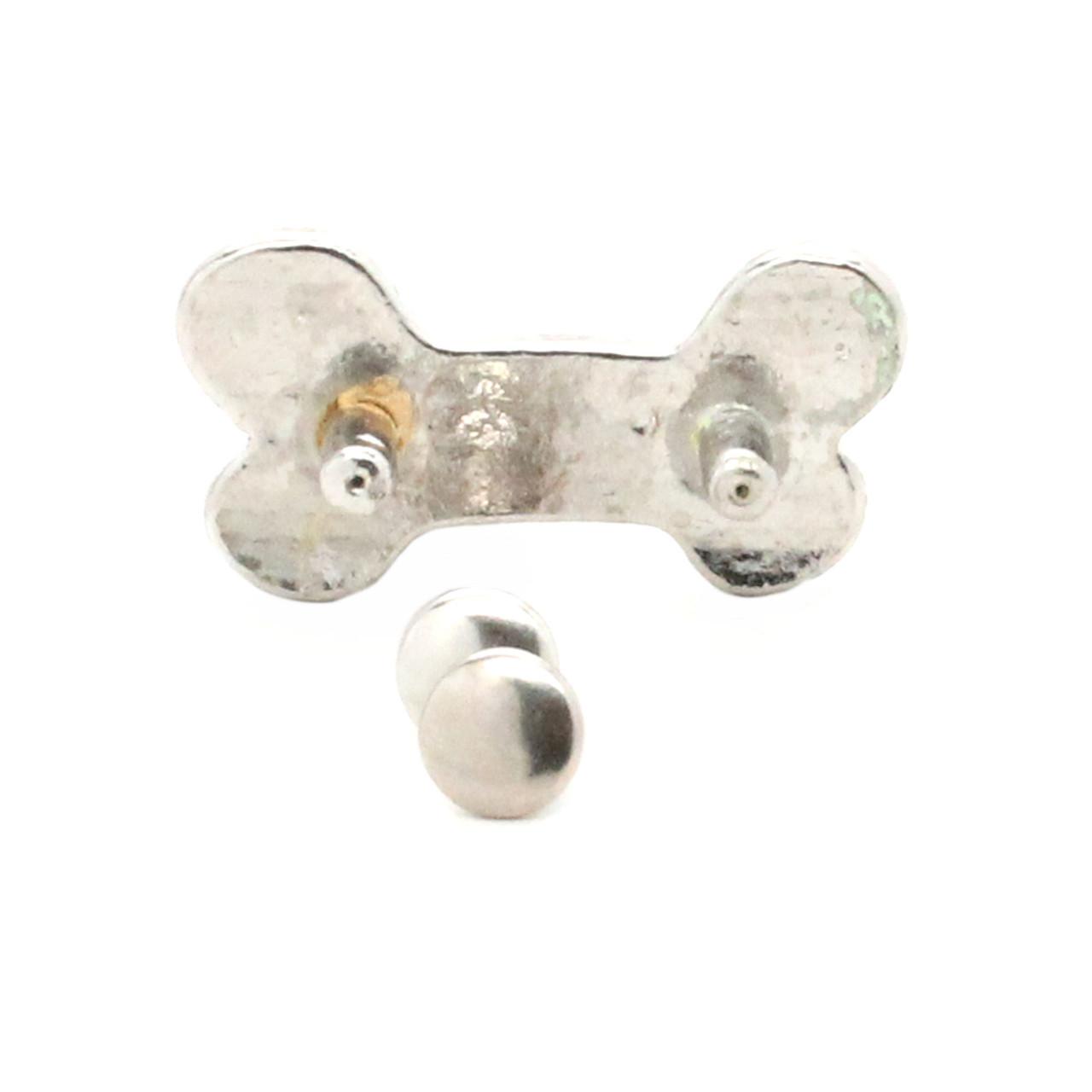 "Dog Bone Concho Shiny Nickel Rivet Back 1"" Back"