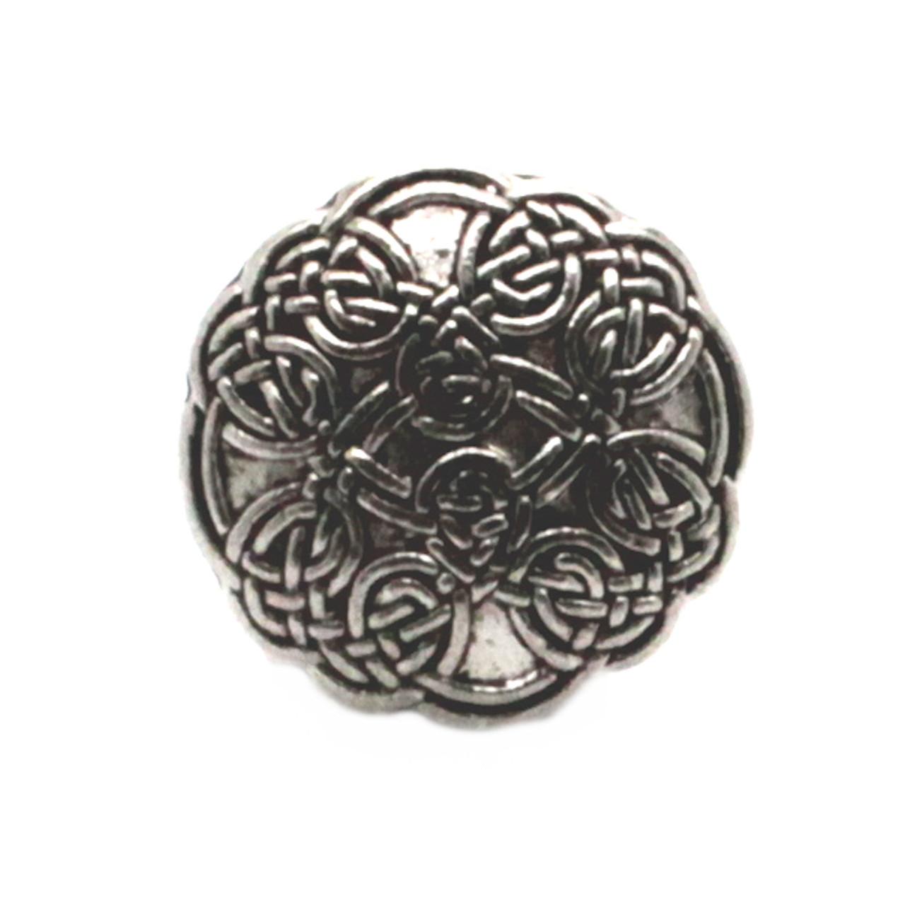 "Celtic Button Antique Nickel 7/8"" Front"