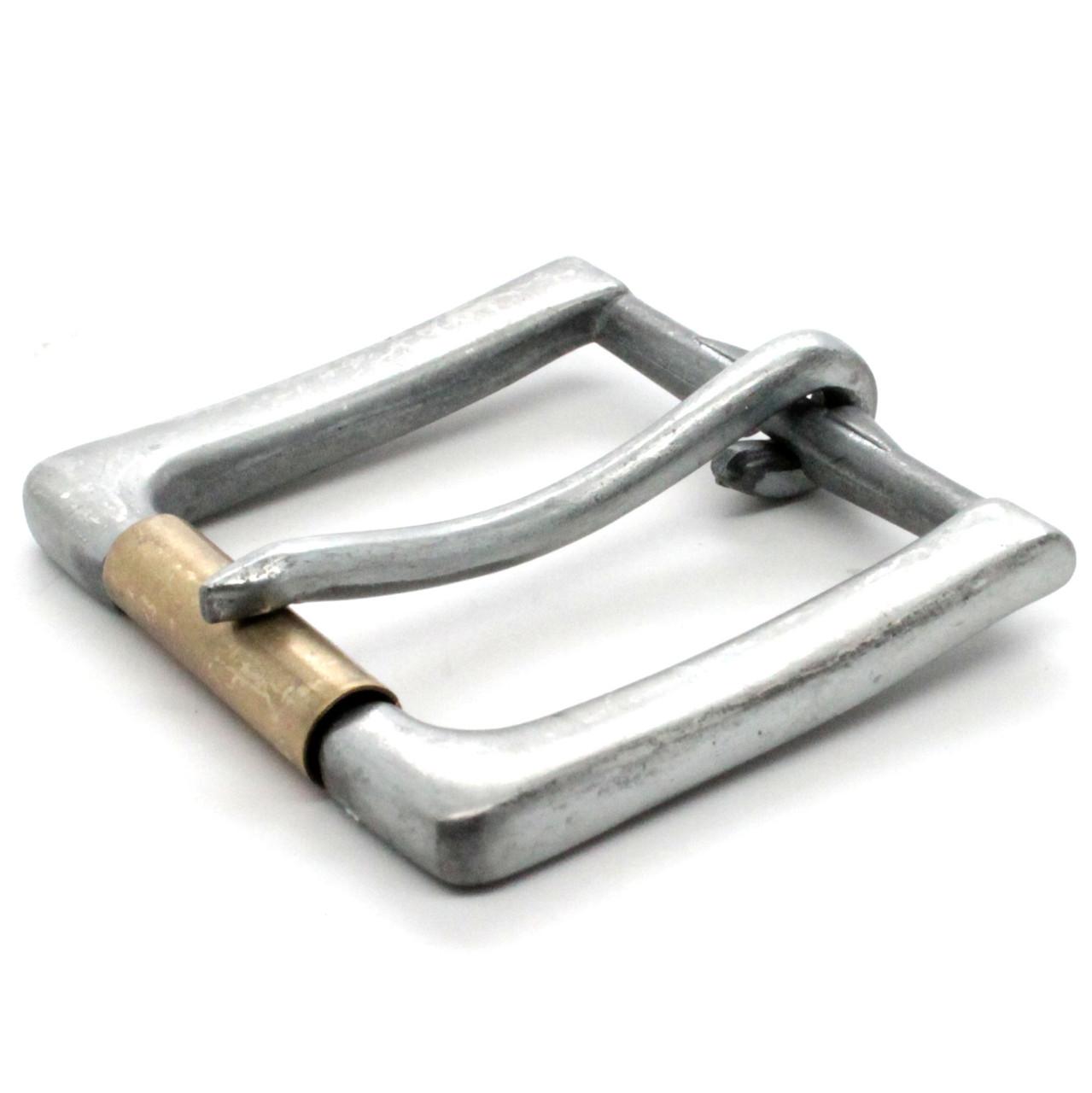 Rugged Roller Belt Buckle Antique Nickel Brass Roller Side