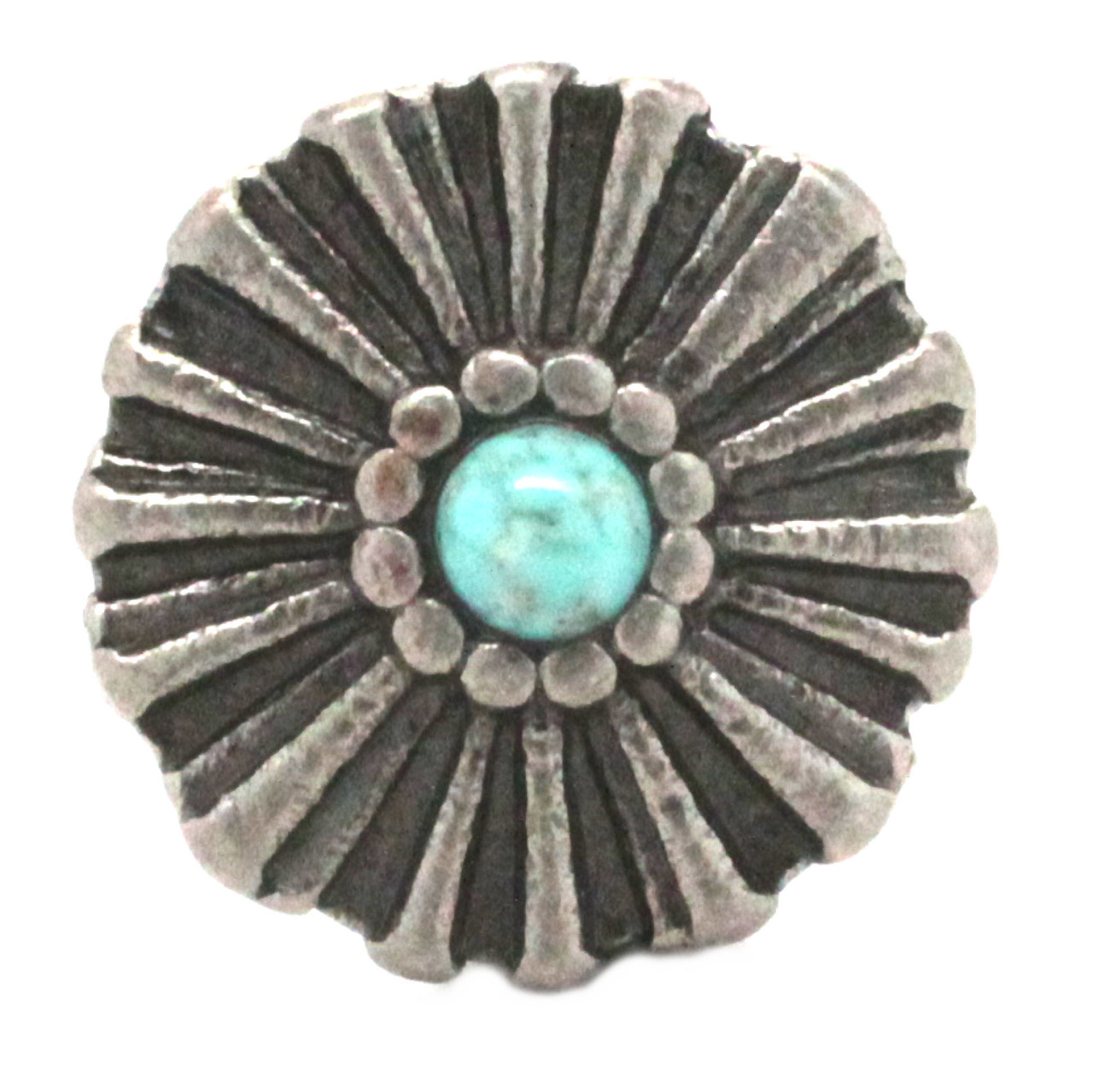 """Vintage Sunshine Concho Antique Nickel And Turquoise 1-1/4"""" Front"""