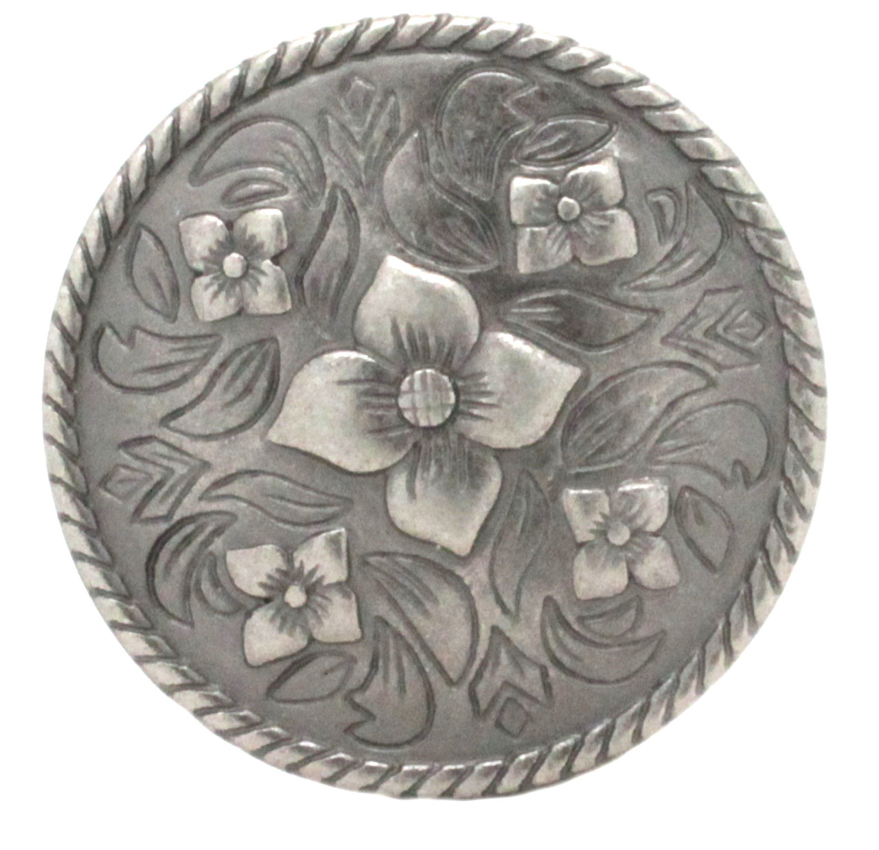 """Raised Floral And Filigree Concho Antique Nickel 1-5/8"""" Front"""