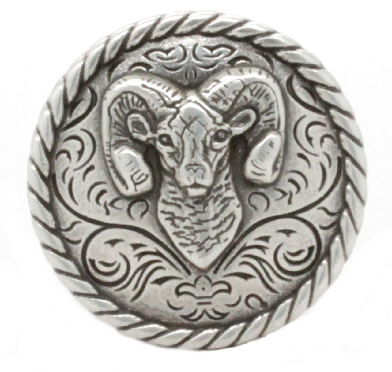 "Ram Concho Antique Silver 1-1/4"" Front"