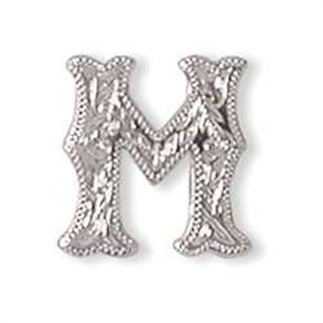 Alphabet Letter M Shiny Silver Screw Back Concho
