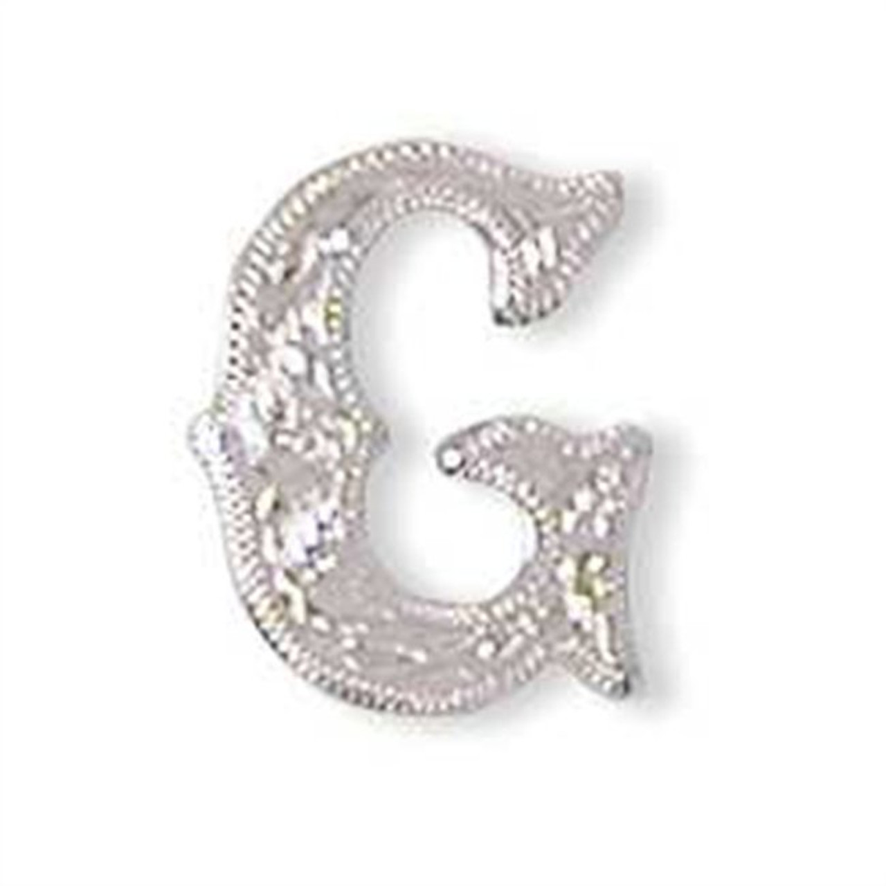 """Alphabet Letter G Shiny Silver Screw Back Concho 3/4"""" Tall 1339-07"""