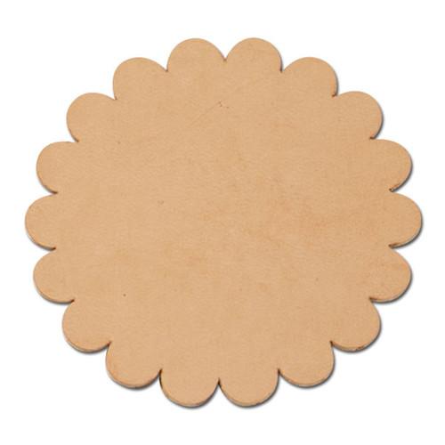 Scalloped Round Leather Conchos 6 Pk