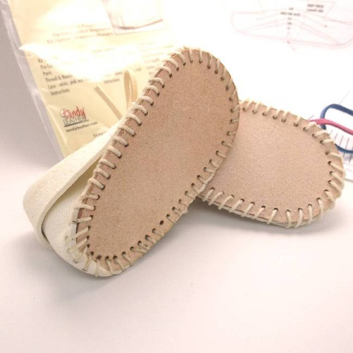 Baby Shoe White Moccasin Kit Bottom