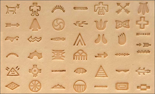 Native American Symbol Stamp Set on leather