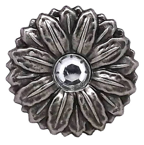 Flower Concho Synthetic Crystal Center Antique Silver