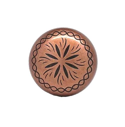 """Sunburst 1"""" x 3/16"""" Copper Plated Concho Top"""