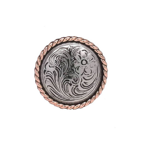 Rose Flower Antique Silver with Copper Rope Edge Screwback Concho