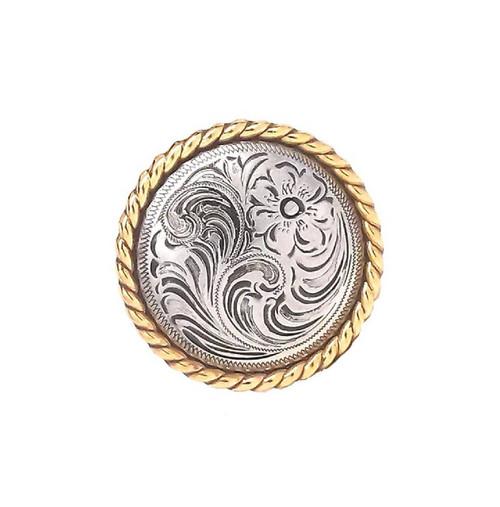 "Rose Flower Antique Silver and Gold Rope Edge Concho 1785-NG 1"" by Stecksstore"