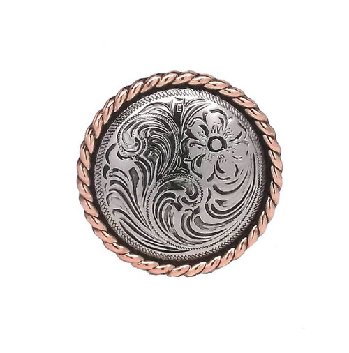 "Rose Flower Antique Silver with Copper Rope Edge Screwback Concho 1.5"" 1787-NC"